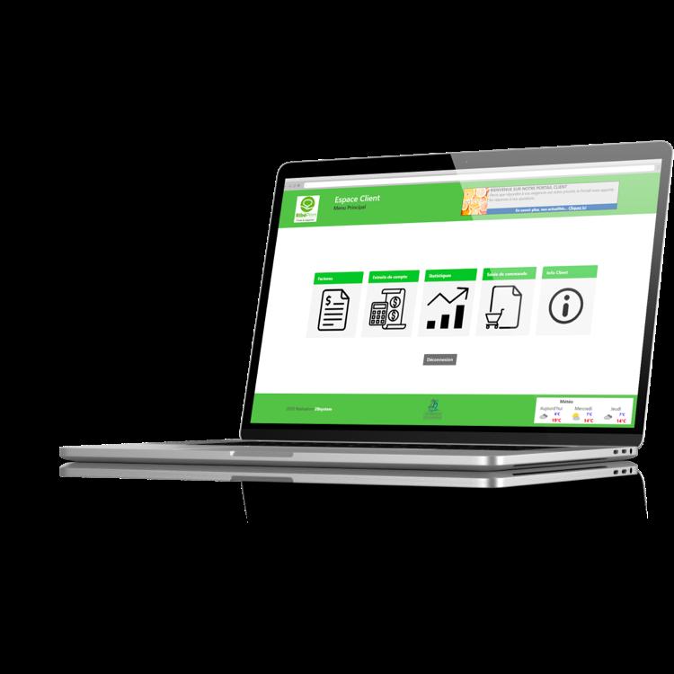Ordinateur portable connecté au portail clients pour commande de Fruits & Légumes